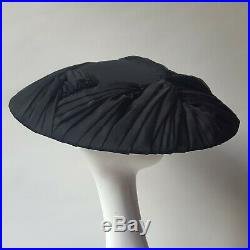 Vintage 1950's Christian Dior Black Pleated Ladies Wide Brim Saucer Hat New Look