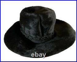 Vintage 1950s 60s authentic Christian Dior black fur felt wide brim floppy hat