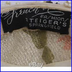 Vintage 1950s Cocktail Hat Beaded w Pearls & Rhinestones Alfreda Paris New York