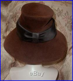 Vintage 1950s DIOR French Felt Hat Mushroom Brim Chimney Crown Cocoa & Black