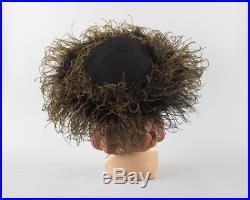 Vintage 1950s Hat 50s Ostrich Feather Black Jersey Wide Brim Formal Picture Hat