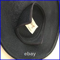Vintage 1950s Navy Blue Straw Wide Brim Saucer Hat Millinery Henry Margu Flowers