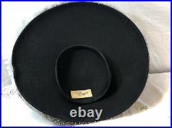 Vintage 1950s Original By Dwayne Womens Black Platter Hat With Mesh Drapery P/O