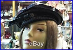 Vintage 1960`s MOD Christian Dior Chapeaux Patent Leather Beret Topper Style Hat