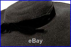 Vintage 1960's Women's Black Rafita Wide Brim Hat Women's Velvet Ribbon NWOT
