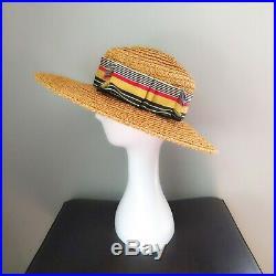 Vintage 1960s 1970s YSL Saint Laurent Wide Brim Straw Boater Hat Provence S