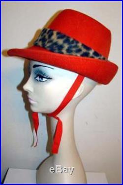 Vintage 1960s CLOVER LANE Pumpkin/Faux Leopard Hat