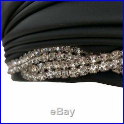 Vintage 1960s Christian Dior Black Satin Turban Hat
