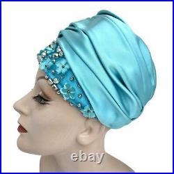 Vintage 1960s Christian Dior Blue Satin Flower Rhinestone Turban Hat Original Ta