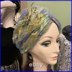 Vintage 1960s Christian Dior Chapeaux Feather Turban