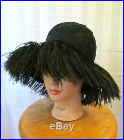 Vintage 1960s Hat by Mr. John Wide Brim Black Feathers Ostrich