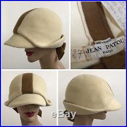 Vintage 1960s Jean Patou Cream Fur Felt Couture Mod Hat Carnaby Street