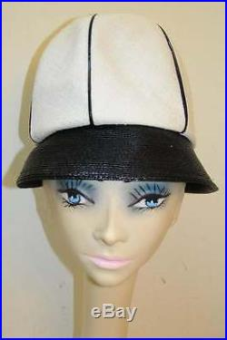 Vintage 1960s Oleg Cassini Black White Mod Hat 0c2407f39ab