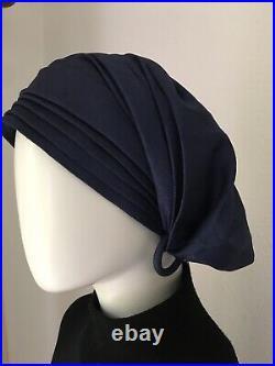 Vintage 1970s Christian Dior Silk Hat Turban Navy Blue S M One Size