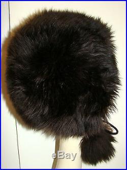 Vintage 1970s Dark Chocolate Brown Lamb Fur Hat with Pompom Ties