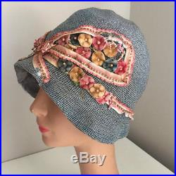 8a987dc41 Vintage Womens Hats   Vintage 20s Cloche Hat Straw Summer Flowers ...