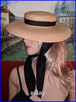 361aea541 Vintage Womens Hats | Vintage 20th Century Straw Ladies Boater Hat ...