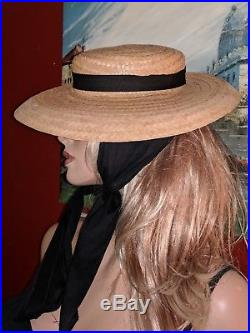 Vintage 20th Century Straw Ladies Boater Hat With Scarf Sun Wide Flat Brim 40's