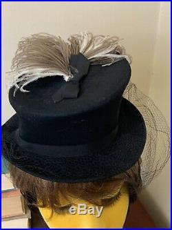 Vintage 30s 40s Tilt Hat With Feathers Top Hat Riding Hat