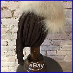 Vintage 40's Fur Snood Hat Brown Rayon Drape Jewel Detail Engel Fetzer 22 1/2
