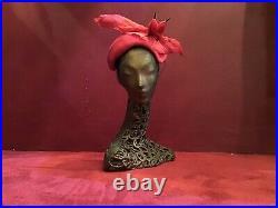 Vintage 40s 50s 60s Fuchsia Bird Hat Feathers Velvet Fishnet