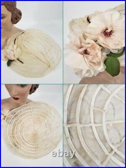 Vintage 40s 50s Platter Hat in Cream Silk