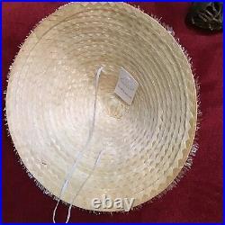 Vintage 40s 50s Raffia Straw Hat Saucer Beach