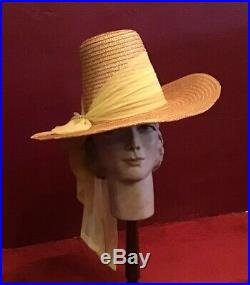 Vintage 40s 50s Straw Hat High Crown Wide Brim Raffia Happy Cappers