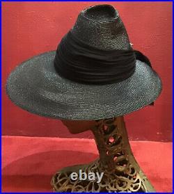 Vintage 40s 50s Straw Hat Raffia Black Catwheel Henri Fifth Avenue Tilt