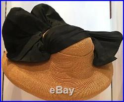 Vintage 40s Hat Straw & Silk Beach Tilt Saucer Wide Brim