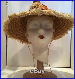Vintage 40s Straw Coolie Hat Fedora Novelity Beach Veldore Houston