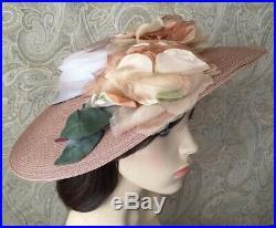 Vintage 50's Hat, 1950's Straw Platter Hat Roses Wide Brim Wedding Garden Party