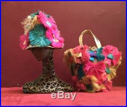 Vintage 50s 60s Funky Hat And Bag Set Bum Beach Straw Bag Purse Carryall