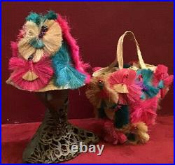 Vintage 50s 60s Hat And Bag Set Beach Straw Purse Raffia Pink Green High Crown