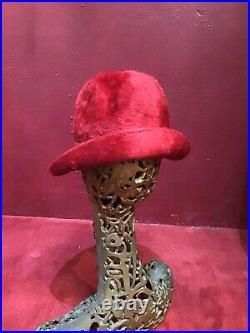Vintage 50s 60s Made In Paris Schiaparelli Wool Fur Red Deep Hat