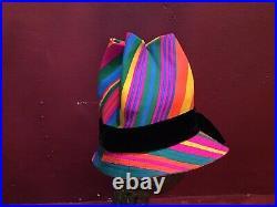 Vintage 50s 60s Mod Beach Rainbow Striped Hat Tilt By Doris