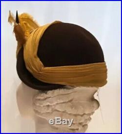 Vintage 50s Marie Belle Brown Wool Felt Hat Mustard Bird 40s Tilt Fascinator
