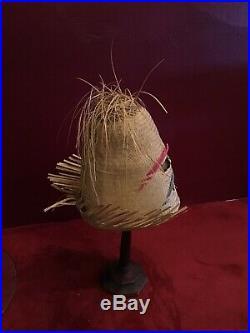 Vintage 50s Straw Hat Raffia Hat High Crown Beach