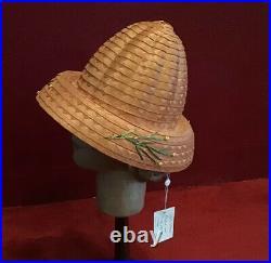 Vintage 50s Straw Hat Raffia Hat High Crown Beach Made In Italy
