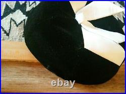 Vintage 50s Striking Yves Saint Laurent Hat Black Velvet White Leather Bow Label