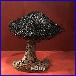 Vintage 60s Black Faux Straw Hat Raffia Saucer