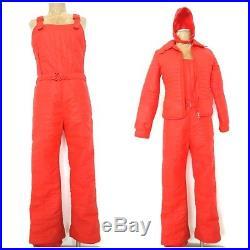 Vintage 60s Fusalp Snow Bib Size Medium Red Retro Ski France Hat Snowsuit Jacket