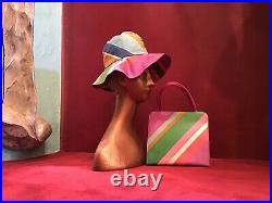 Vintage 60s Margaret Smith Striped Hat Matching Bag Mod Beach Purse Novelty