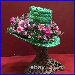 Vintage 60s Straw Green Raffia Hat Lavender Flowers Leslie James Fifth Ave