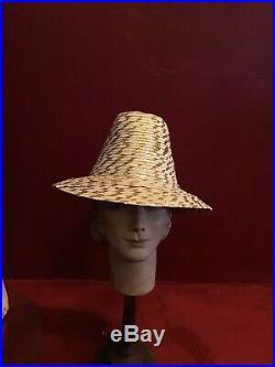 Vintage 60s Straw Hat Sumer Beach Hat Fedora