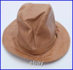 Vintage 70s GUCCI fedora hat gold horsebit hat brown leather