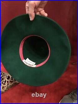 Vintage 80s Does 40s Forest Green Adolfo By Sacks Fifth Avenue Tilt Top