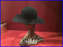 Vintage 80s Giorgio Armani Couture Runway Black Wool Square browne Style Hat