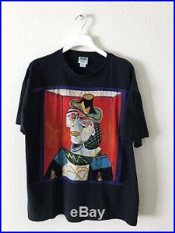Vintage 90s Picasso T Shirt Woman in a Blue Hat XL Black Made In USA Pablo Jay-z