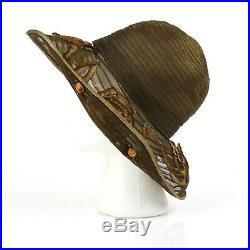 Vintage ACE HIGH MILLINERY COUTURE c. 1910's Edwardian Jeweled Wide Brim Hat NOS